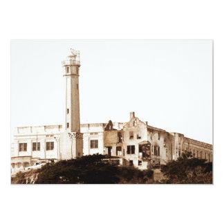 Alcatraz Prison (Sepia Tones) 13 Cm X 18 Cm Invitation Card