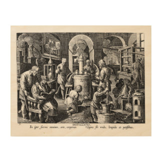 Alchemist and Apprentice in Distillation Wood Prints