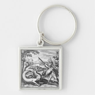 Alchemy Dragon Silver-Colored Square Key Ring