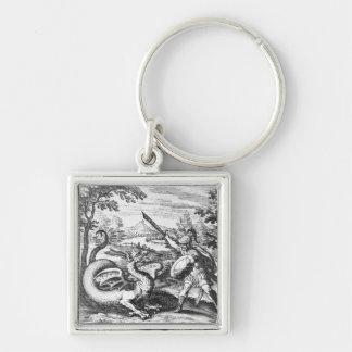 Alchemy Dragon Silver-Colored Square Key Ring