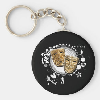 Alchemy of Acting Drama Masks Basic Round Button Key Ring