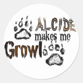 Alcide makes me growl round sticker