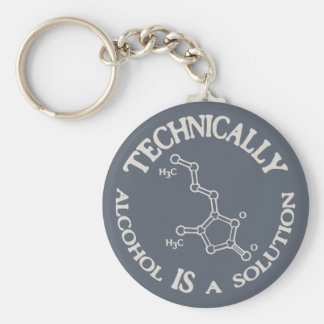 Alcohol, A Solution Basic Round Button Key Ring