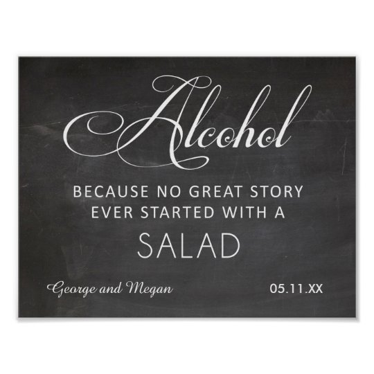 Alcohol - funny wedding chalkboard sign