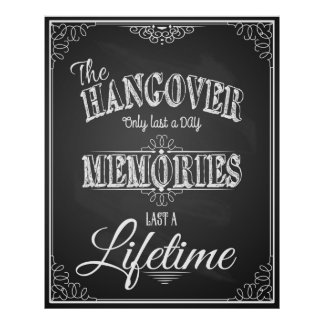Alcohol HANGOVER bar sign perfect wedding print