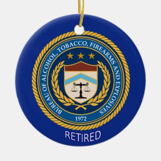 Alcohol Tobacco and Firearms Retired Round Ceramic Decoration