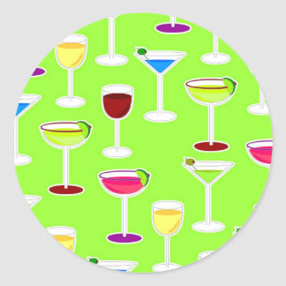 Alcoholic Beverages Cocktail Party Print - Green Round Sticker