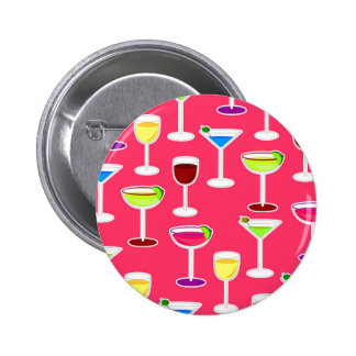 Alcoholic Beverages Cocktail Party Print - Pink 6 Cm Round Badge