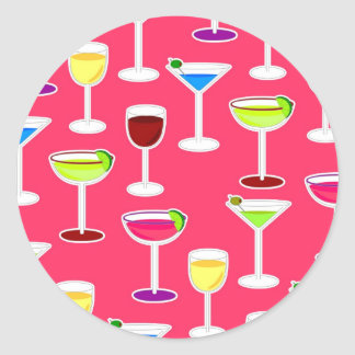 Alcoholic Beverages Cocktail Party Print - Pink Round Sticker