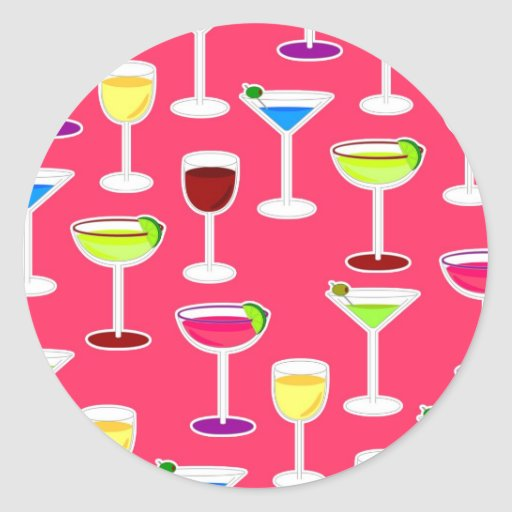 Alcoholic Beverages Cocktail Party Print - Pink Stickers