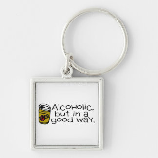 Alcoholic But In A Good Way Beer Silver-Colored Square Key Ring
