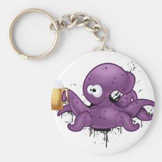 Alcoholic octopus basic round button key ring