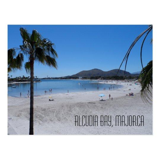 Alcudia Beach and Bay Landscape Majorca Spain Postcard