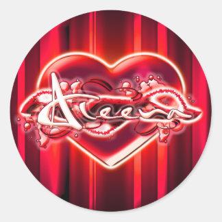 Aleena Round Sticker