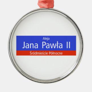 Aleja Jana Pawla II, Warsaw, Polish Street Sign Christmas Ornament