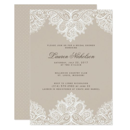 Alençon Lace Wedding Shower Invitation- Champagne Card