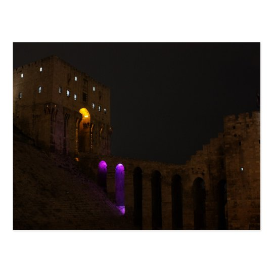 Aleppo Citadel Castle at night - Syria Postcard