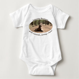 Alert Chocolate Lab On A Forest Trail Baby Bodysuit