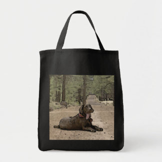 Alert Chocolate Lab On A Forest Trail Grocery Tote Bag
