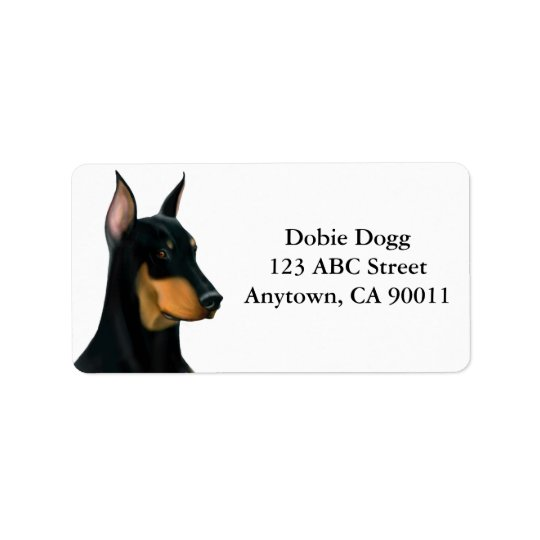 Alert Doberman Pinscher Dog Label
