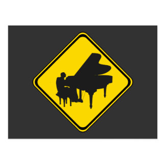 Alert Piano Player Ahead Post Cards