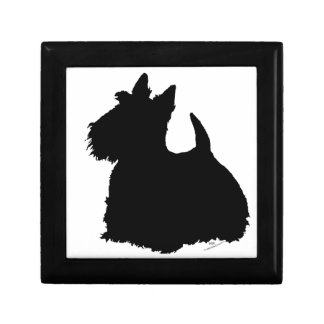 Alert Scottish Terrier Silhouette Gift Box