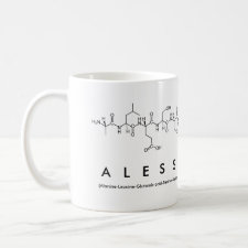 Mug featuring the name Alessandra spelled out in the single letter amino acid code
