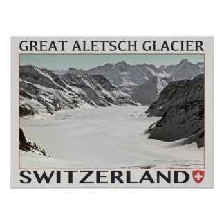 Aletsch Glacier - on White.jpg Poster