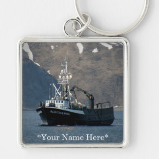 Aleutian Spray, Crab Boat in Dutch Harbor, AK Silver-Colored Square Key Ring