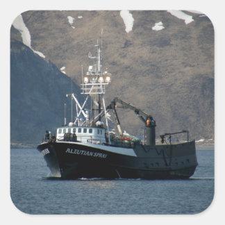 Aleutian Spray, Crab Boat in Dutch Harbor, AK Square Sticker