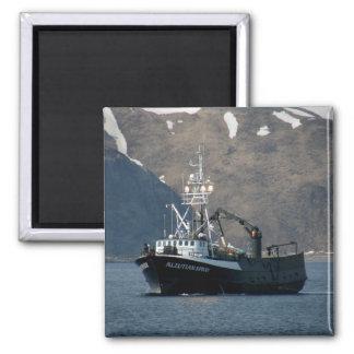 Aleutian Spray, Crab Boat in Dutch Harbor, Alaska Square Magnet