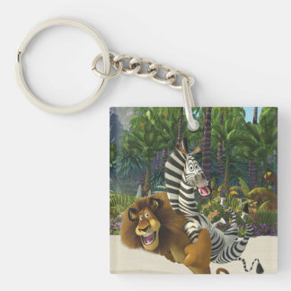 Alex and Marty Playful Double-Sided Square Acrylic Key Ring
