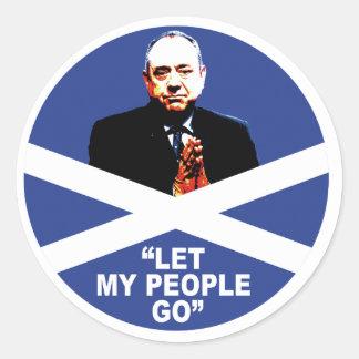 """Alex Salmond, """"Let my people go"""" Round Sticker"""
