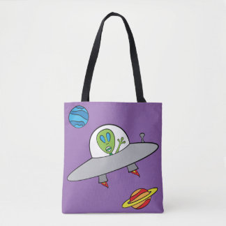 Alex the Alien - All-Over-Print Tote Purple