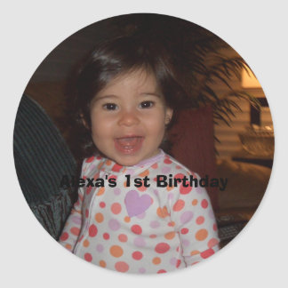 Alexa 5-07 033, Alexa's 1st Birthday Classic Round Sticker