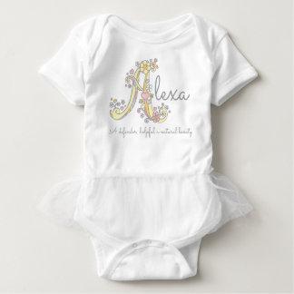 Alexa girls name meaning monogram hearts baby bodysuit