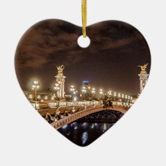 Alexander 3 bridge in Paris France at night Christmas Ornament