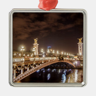 Alexander 3 bridge in Paris France at night Christmas Ornament
