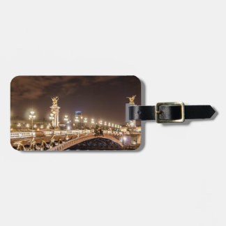 Alexander 3 bridge in Paris France at night Luggage Tag