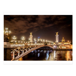 Alexander 3 bridge in Paris France at night Postcard