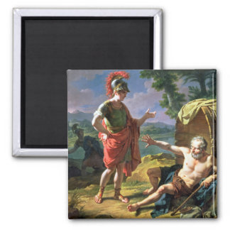 Alexander and Diogenes, 1818 (oil on canvas) Square Magnet