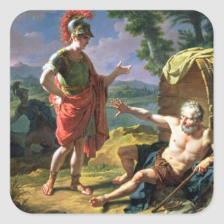 Alexander and Diogenes, 1818 (oil on canvas) Square Sticker