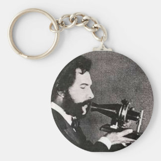 Alexander Bell on the First Phone- Case Basic Round Button Key Ring