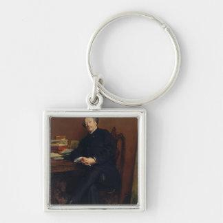 Alexander Dumas Fils  1877 Silver-Colored Square Key Ring