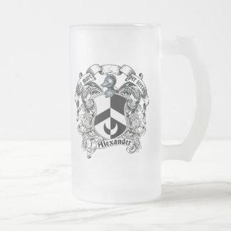 Alexander Family Crest Frosted Glass Beer Mug
