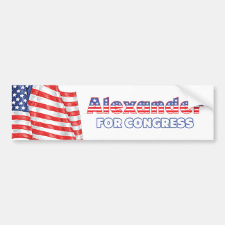 Alexander for Congress Patriotic American Flag Bumper Sticker