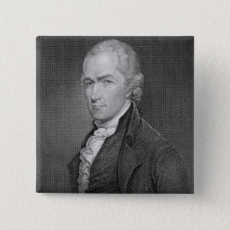 Alexander Hamilton (1757-1804) engraved by John Fr 15 Cm Square Badge