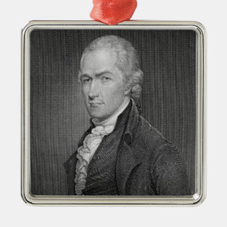 Alexander Hamilton (1757-1804) engraved by John Fr Silver-Colored Square Decoration