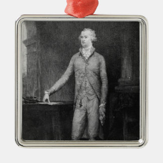Alexander Hamilton, after the painting of 1792 Silver-Colored Square Decoration
