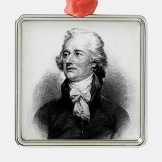 Alexander Hamilton Silver-Colored Square Decoration